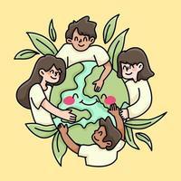 pessoas unidas do mundo paz e amor ilustração de caridade vetor