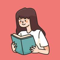 lendo um livro ilustração fofa dos desenhos animados vetor
