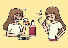 Ilustração dos desenhos animados dos hábitos femininos de fumar e beber vetor