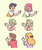 pessoas apontando conjunto de ilustração bonito dos desenhos animados vetor