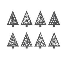 árvore de Natal definida laser fofo. papel bonito doodle decoração de férias de mão desenhada. grupo de árvore do abeto. doodle abstrato desenho madeiras. vetor arte design ilustração linha simples