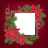 design de cartão de feliz Natal com decoração de buquê floral poinsetia e fundo branco com lugar para texto. cartão postal da temporada de inverno moderno, brochura, design de parede vetor
