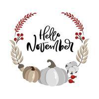 Olá, modelo de design de grinalda de novembro com abóbora laranja, cinza. ilustração em vetor halloween. fundo de colheita de férias. comida orgânica da horta. outono