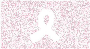 fita de banner estilizada de vetor rosa de mama canser para outubro é o mês de conscientização do câncer. ilustração de caligrafia em fundo rosa florido