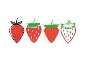 conjunto de desenho de ícone de morango vetor