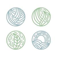 conjunto de emblemas bio redondos em um estilo linear de círculo. planta tropical deixa o logotipo. emblema abstrato do vetor para design de produtos naturais, floricultura, cosméticos, conceitos de ecologia, saúde, spa