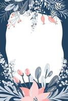 Vector guirlanda de Natal feliz com bagas, Poinsetia, pinha e ramos com lugar para texto. modelo de cartão de felicitações. quadro de inverno isolado no fundo branco