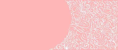 caligrafia vintage folhas em fundo rosa. elementos de florescer do vetor com banner de flores para dia dos namorados, casamento, aniversário, cartão com espaço de cópia para o seu texto