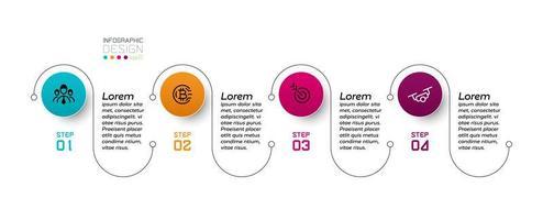 linha e círculo desenho de 4 etapas para apresentação ou comunicação de vários processos. projeto infográfico. vetor