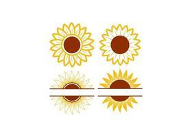 conjunto de desenho de ícone de girassol vetor