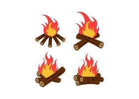 conjunto de design de ícone de fogueira vetor
