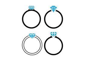 ilustração isolada do vetor do modelo do ícone do anel de diamante