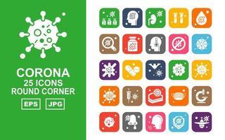 Pacote de ícones de canto redondo com 25 vírus corona vetor