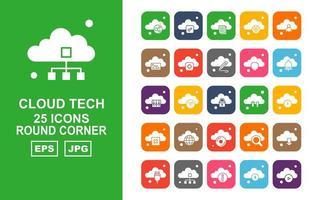 Pacote de ícones de 25 tecnologia premium em nuvem vetor