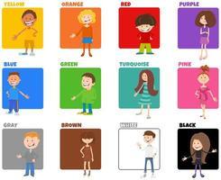 cores básicas definidas com personagens infantis de desenhos animados vetor