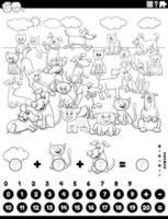 contando e adicionando tarefas com a página do livro de cores de animais de estimação vetor