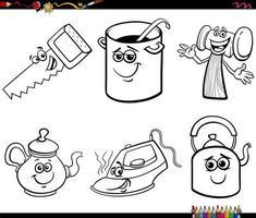 desenho animado engraçado objeto conjunto de personagens para colorir página de livro