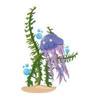 vida subaquática do mar, água-viva com algas no fundo branco vetor