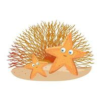 vida subaquática do mar, animal estrela do mar com coral no fundo branco vetor