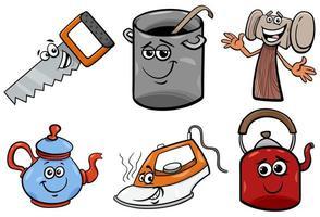 conjunto de ilustração de clip-art de desenhos animados objetos domésticos