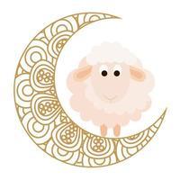 Ornamento de celebração eid em fundo branco, lua com ovelhas vetor