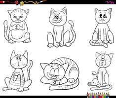 desenhos animados gatos e gatinhos definir página do livro de cores