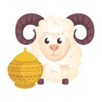 animal de cabra com vaso de cerâmica em fundo branco