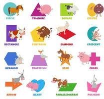 Conjunto de formas geométricas com animais de fazenda