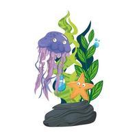 vida subaquática do mar, água-viva com estrela do mar e algas no fundo branco vetor