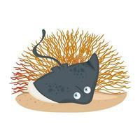 vida subaquática do mar, animal arraia com coral no fundo branco