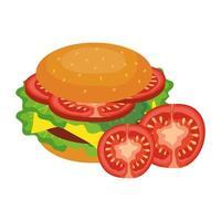 desenho de vetor de hambúrguer e tomate isolado