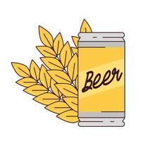 lata de cerveja com espigão no fundo branco vetor