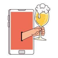 comunicação distante, mão segurando um copo de cerveja pela tela do smartphone