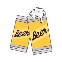 latas de cerveja, brinde, em fundo branco vetor