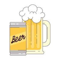 caneca com lata de cerveja no fundo branco vetor