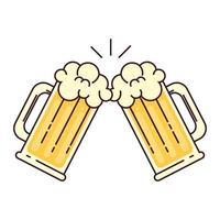 canecas de cerveja com espuma, brinde, sobre fundo branco vetor