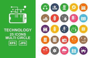 Pacote de ícones multi-círculo com 25 tecnologia premium vetor