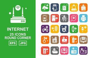 Pacote de ícones de 25 cantos redondos premium de internet das coisas vetor