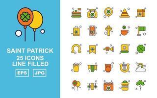Pacote de ícones com 25 linhas premium saint patrick vetor