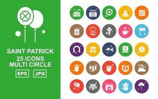 Pacote de ícones multi-círculo de 25 Saint Patrick Premium vetor