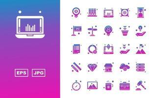Pacote de 25 ícones de gradiente de glifo empresarial premium vetor