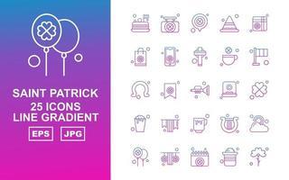 Pacote de ícones de gradiente de linha 25 Saint Patrick vetor
