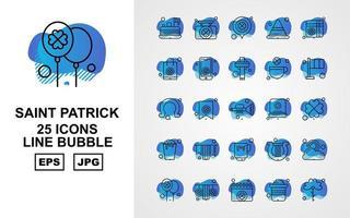 Pacote de ícones de bolhas com 25 linhas premium saint patrick vetor