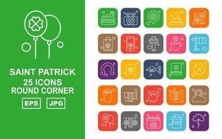 Pacote de ícones premium com 25 cantos redondos Saint Patrick vetor