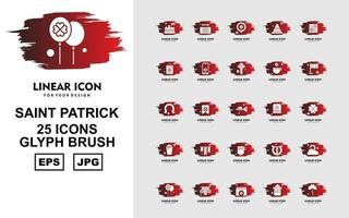Pacote de ícones de pincel com 25 símbolos saint patrick premium vetor