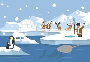 paisagem ártica com pessoas inuit vetor