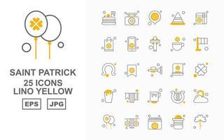 Pacote de 25 ícones premium Saint Patrick Lino amarelo vetor