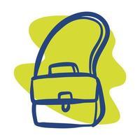 bolsa escolar com ícone de estilo de linha de alça vetor