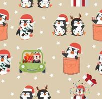 pinguins fofos desenhos animados natal padrão sem emenda vetor