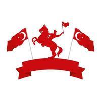 militar turco a cavalo com bandeiras de peru vetor
